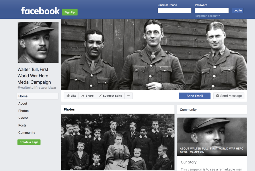 Facebook Walter Tull Campaign