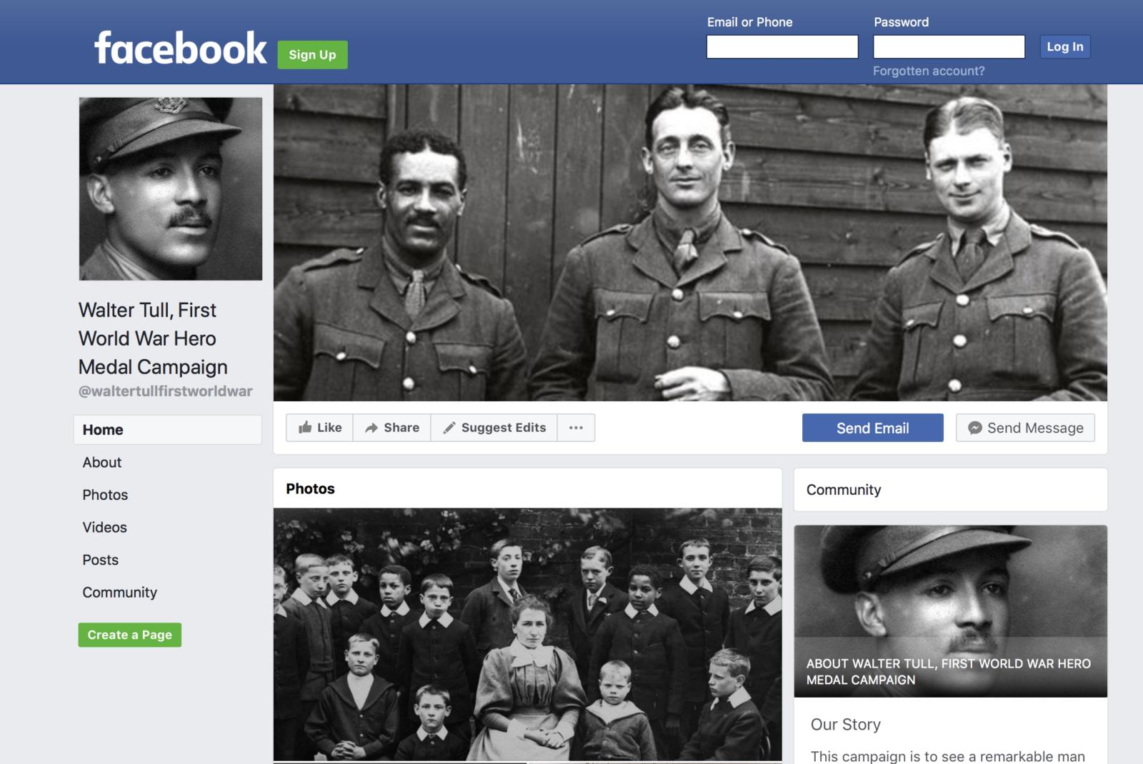 Facebook Walter Tull Campaign